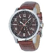 DKNY Men's Brown Leather Strap Chronograph Watch