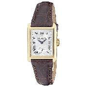 Dreyfuss and Co Ladies' 18ct Gold Brown Leather Strap Watch