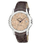 Dreyfuss and Co Men's Automatic Brown Leather Strap Watch