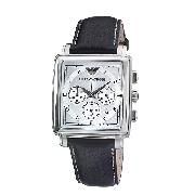 Emporio Armani Men's Black Leather Strap Watch