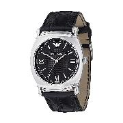 Emporio Armani Men's Stainless Steel Round Black Dial Watch