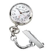Jean Pierre Chrome-Plated Quartz Nurses' Fob Watch