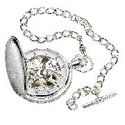 Jean Pierre Sterling Silver Double Hunter Pocket Watch