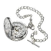 Jean Pierre Sterling Silver Half Hunter Pocket Watch
