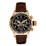 Nautica Men's Rose Gold-Plated Chronograph Strap Watch
