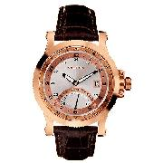 Nautica Men's Rose Gold-Plated Gmt Strap Watch