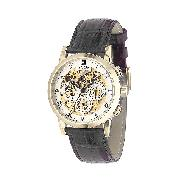 Rotary Men's Automatic Skeleton Black Leather Strap Watch