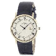 Rotary Windsor Men's Gold-Plated Leather Strap Watch