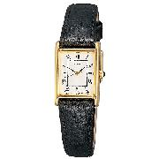 Seiko Ladies' Gold-Plated Black Leather Strap Watch