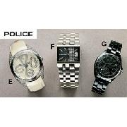 Police Cream Leather Strap Watch