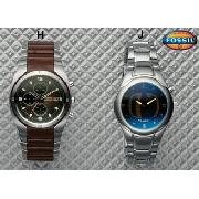 Fossil Leather Inlay Watch