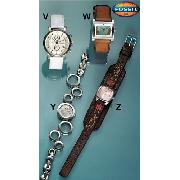 Fossil White Multi Dial Round Watch